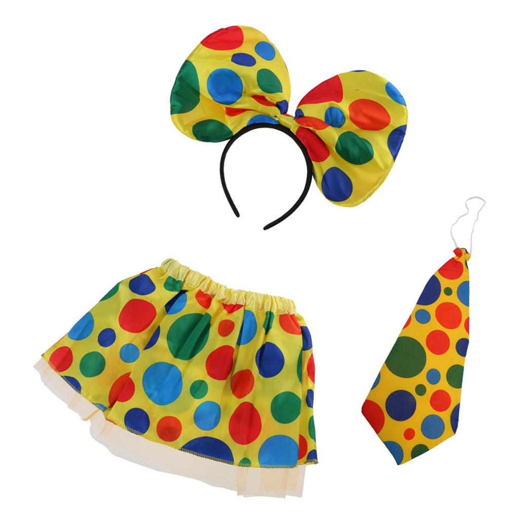 Adults Kids Polka Dot Clown Circus Headband Tie Skirt Birthday Party Cosplay Cheerleaders Dance Costume Beach Parties