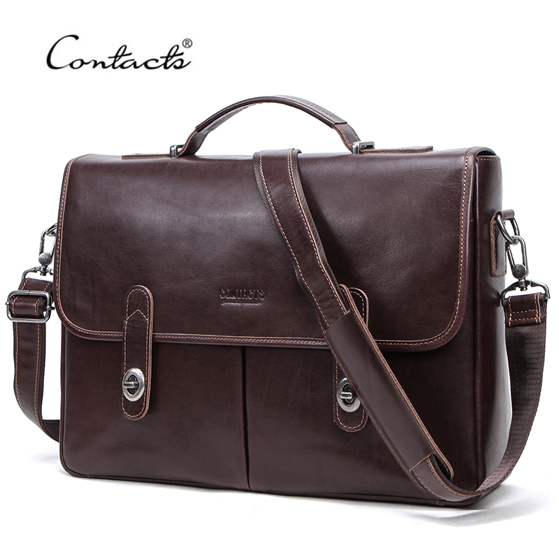 CONTACT'S Business Men Handbag 100% Genuine Leather Briefcases Man Messenger Shoulder Bags For 15.4
