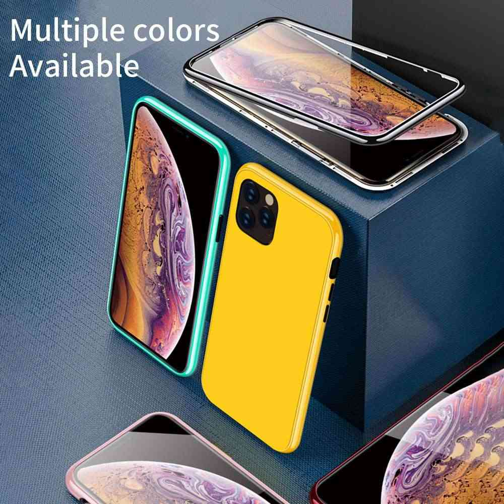 Kisscase colorido magnético adsorção caso para iphone 11 pro max xr xs max x 8 7 plus luxo pc + vidro temperado telefone caso fundas