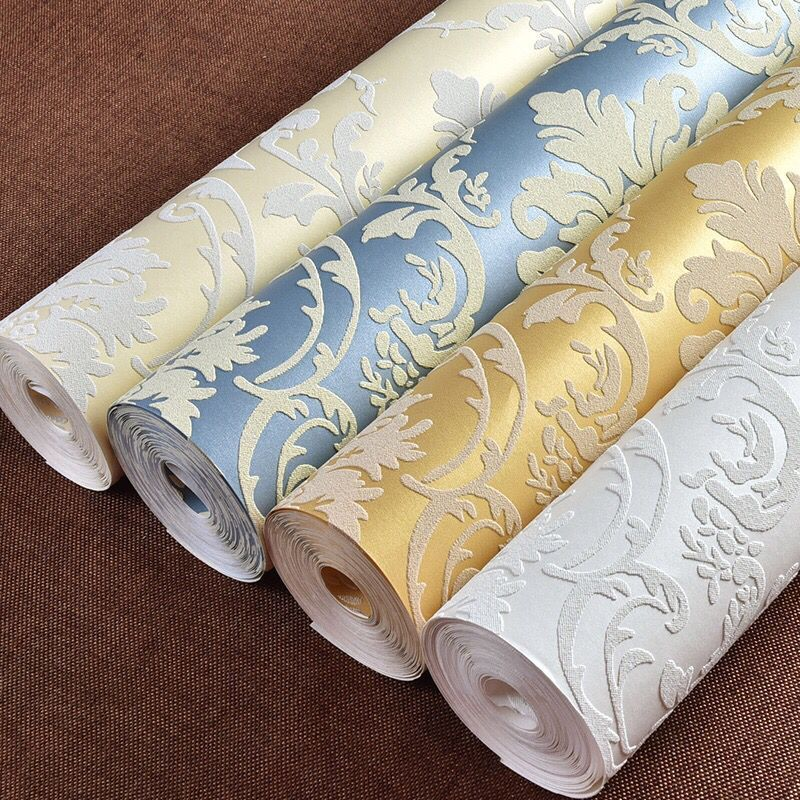 Non-woven Wallpaper 3D Relief, European Classic Luxury  Wallpaper Bedroom  Living Room TV Sofa Background Wallpaper