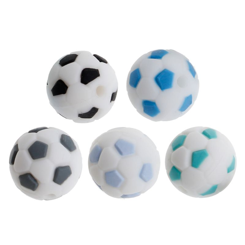 Silicone Beads 15mm Baby Teether Football Food Grade Silicone Soccer Round Bead BPA Free Bracelet Making Teether