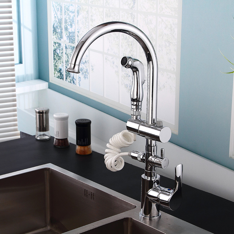 Kitchen Sink Faucets Single Handle Hot and Cold Kitchen Total Chrome Brass Pull Out Kitchen Mixer Tap Crane Tap Rotating Faucets