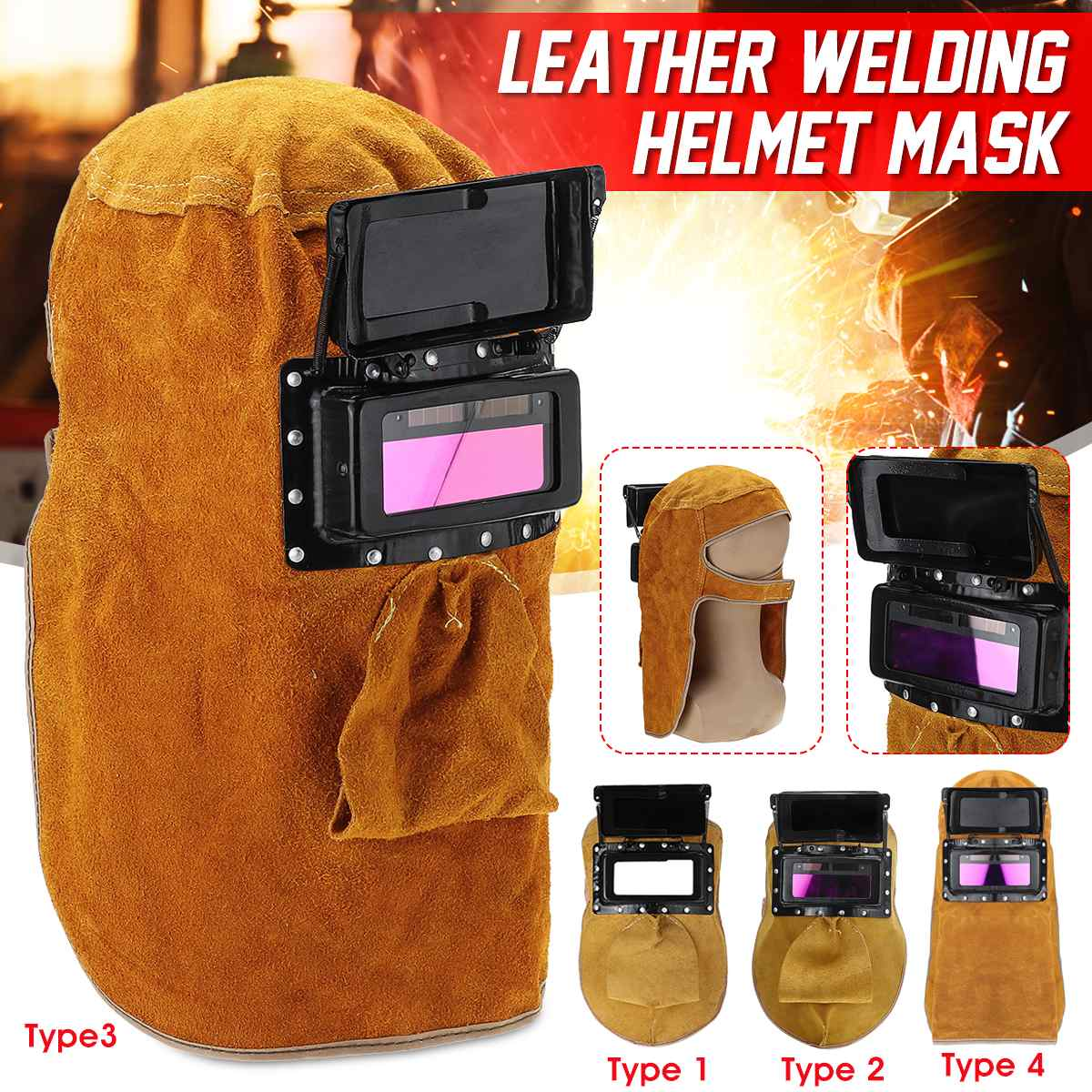 Welder Mask Cowhide Soft Welding Mask Face Protection Solder Grinding Eyes Protector Welding Safety Mask
