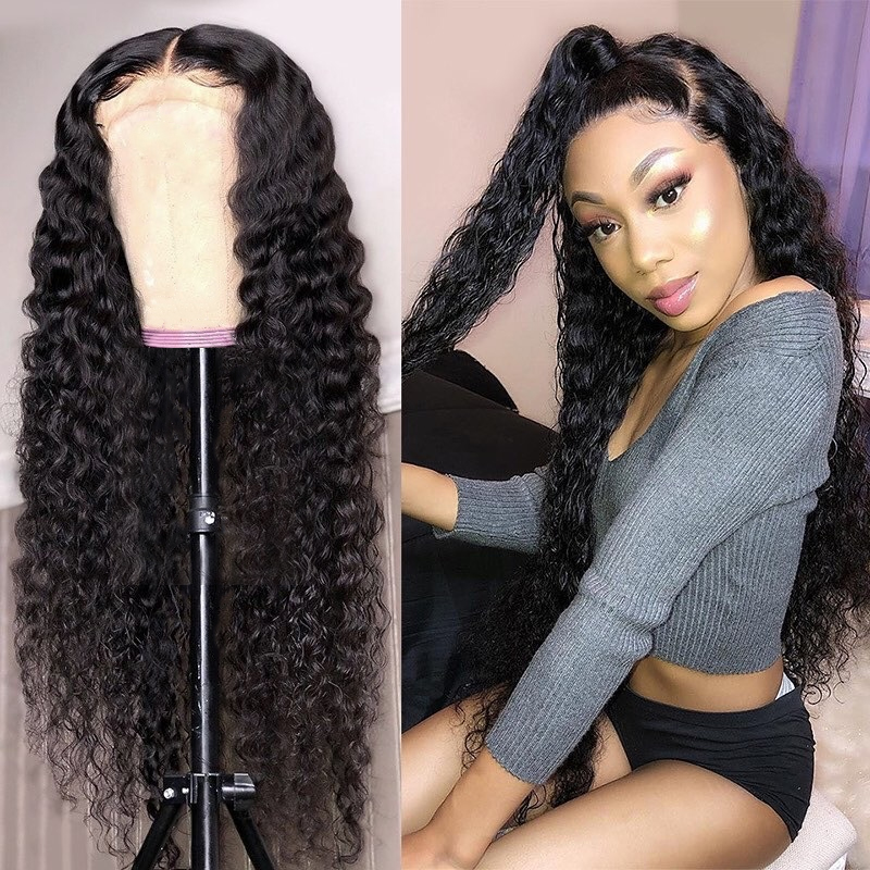 26 28 30 Inch Curly Human Hair Wigs Kinky Curly Lace Front Human Hair Wigs Pre Plucked Undetectable Lace Wig Deep Wave Wig Full