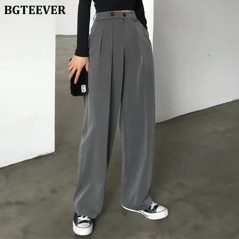 BGTEEVER Casual Loose Long Pants Women High Waist Female Suit Pants Floor-length Straight Trousers Femme 2020 Spring Summer