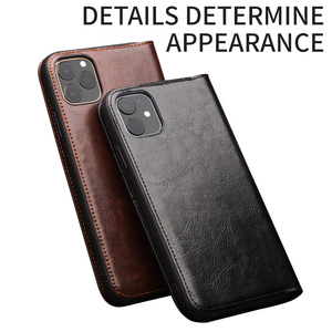 Image 3 - QIALINO Genuine Leather Flip Case for iPhone 11/11 Pro Max Handmade Phone Cover with Card Slots for iPhone 12 Mini/12 Pro Max