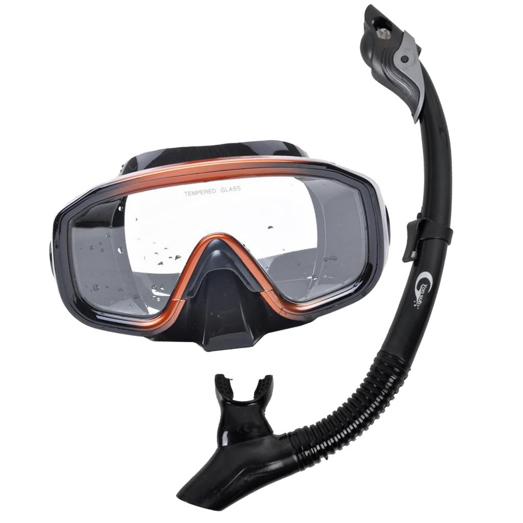 Perfeclan Dry Snorkel Mask Set Professional Dive Gear Goggles Breath Tube