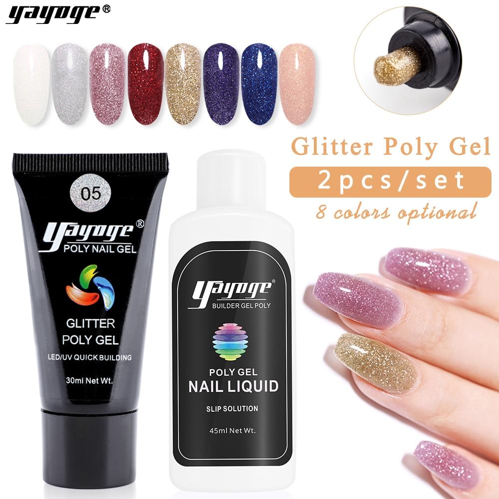 Yayoge полигелевый набор для ногтей, полигелевый блеск для наращивания ногтей, белый прозрачный блеск, быстрое наращивание геля, лак для ногтей, дизайн ногтей