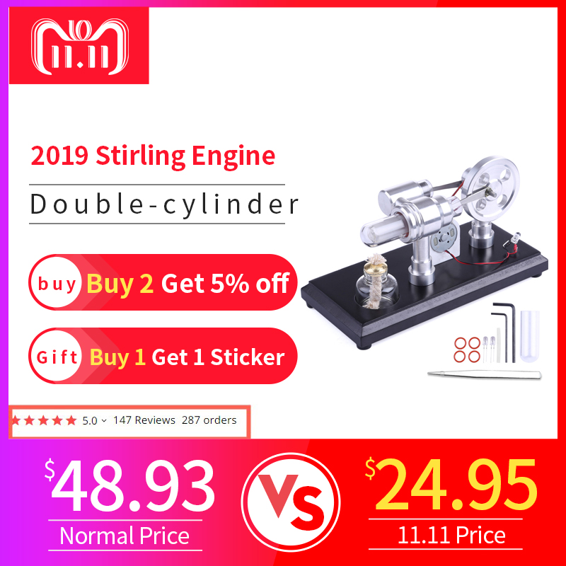 Double-cylinder Micro DIY Stirling Engine External Combustion Engine School Demonstration Early Learning Education Toys For Kids