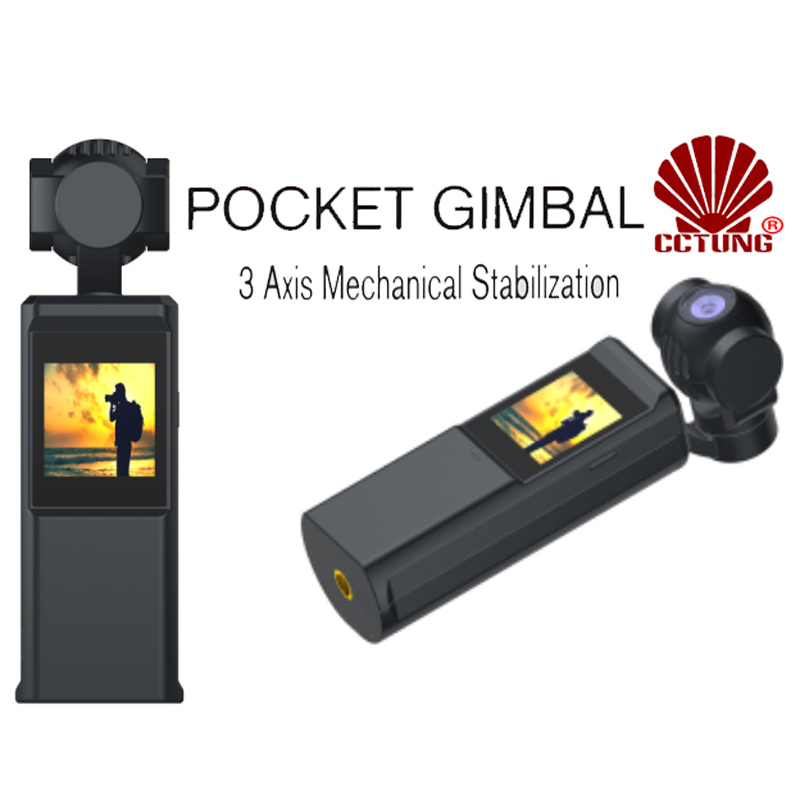 <font><b>Mini</b></font> Pocket Gimbal with Tiny Touch Screen & PTZ <font><b>Camera</b></font> Max 12MP Photos & <font><b>4K</b></font> 30fps Real Time Videos to be Viewed by APP via WiFi image