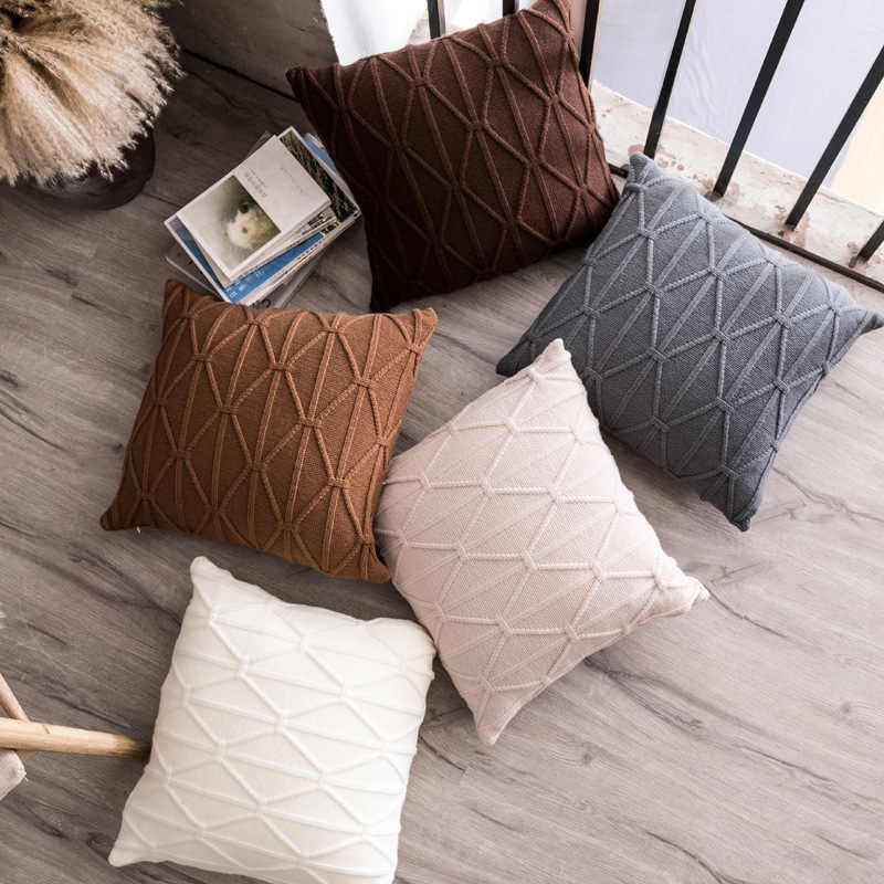 Geometric knitting Pillowcase 45x45 60x60cm Decorative Bedding Use Home Textile 35x65cm Pillow Cover C-BZT16