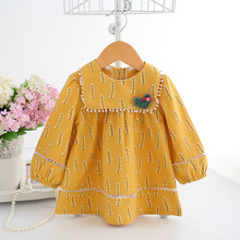 Baby Girls Clothes Infant girl dress Spring Lantern Sleeve Bohemia Style Floral Print Baby girls dress with Toy 3 Color