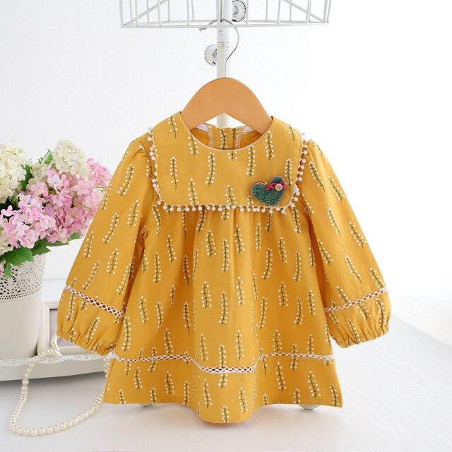 Baby Mädchen Kleidung Säuglings mädchen kleid Frühling Laterne Hülse Böhmen Stil Floral Print Baby mädchen kleid mit Spielzeug 3 Farbe