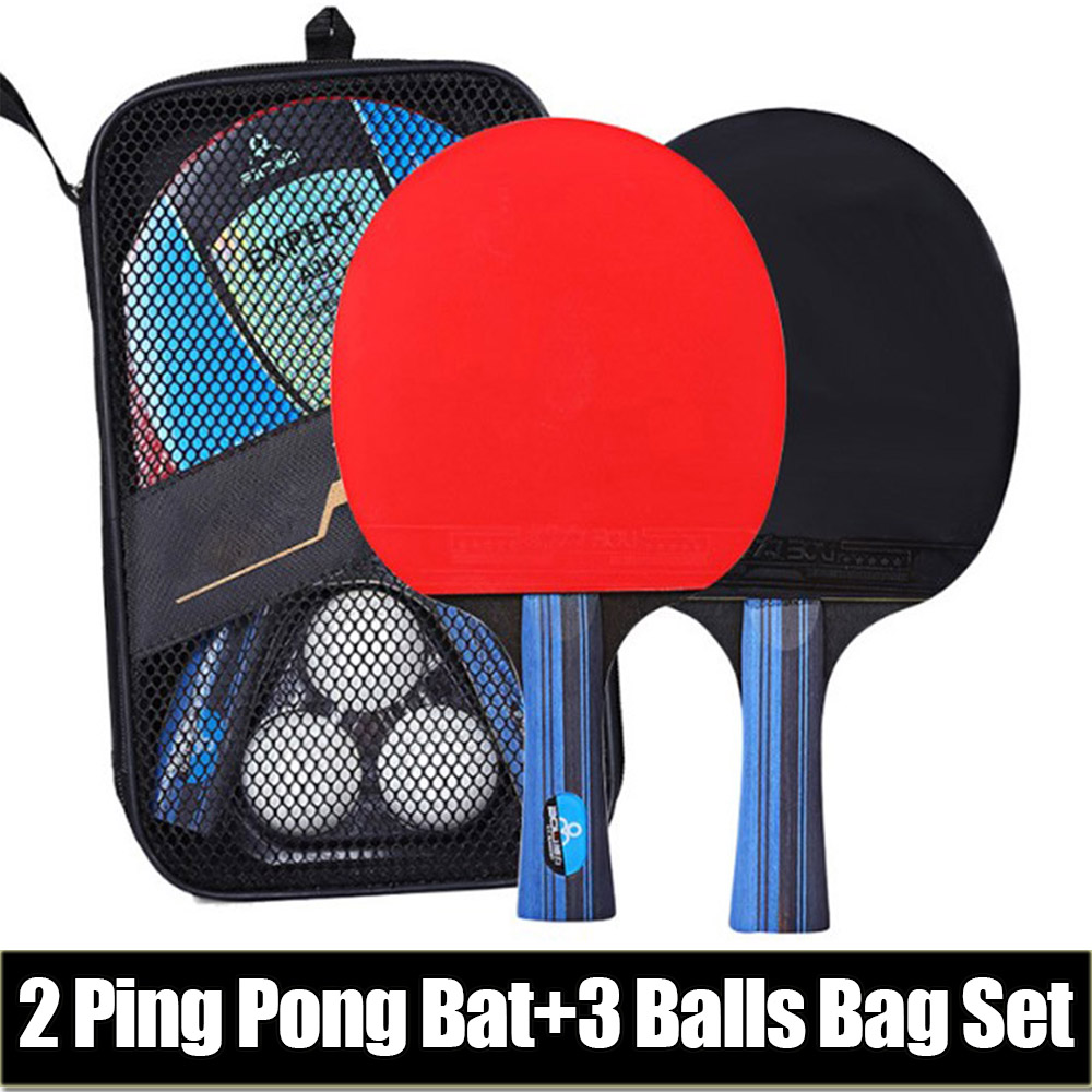 Professional Table Tennis Racket Set Ping Pong Student Sports Equipment Ping Pong Paddle Racket Set With Bag 3 Balls D30