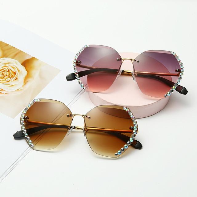 Vintage Fashion Oversized Rimless Sunglasses  4