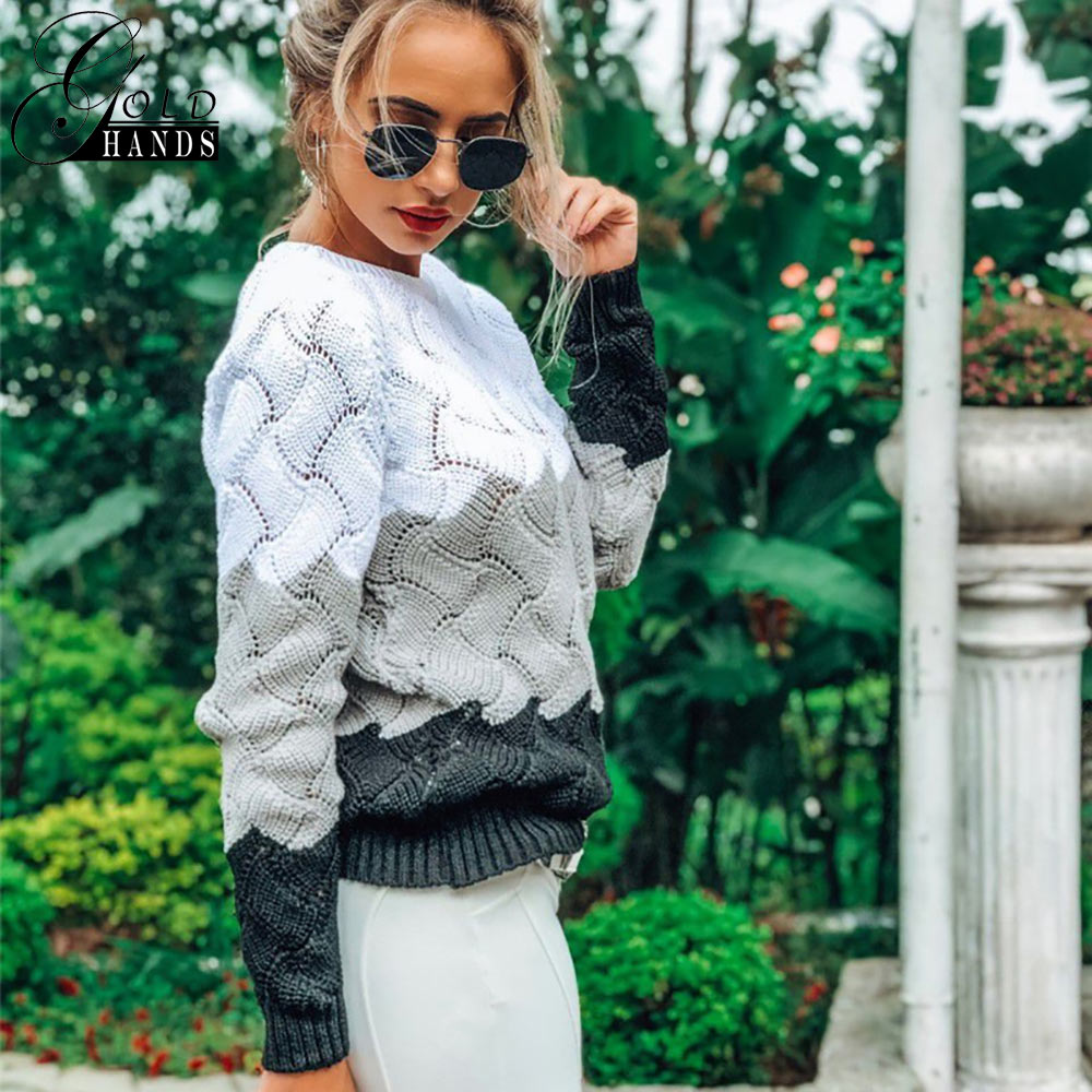Image 2 - Gold Hands New Women Vintage Splice Autumn Ladies Pullover Jumper  Winter Long Sleeve Crewneck Knitted Pullover Sweater Free  ShipPullovers