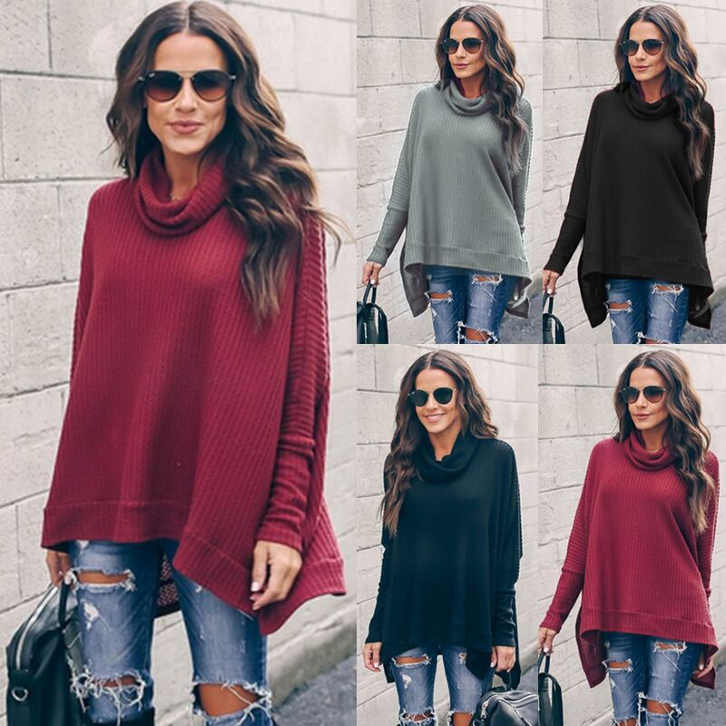 2019 Spring Autumn High Collar Women Sweater Loose Bat Batwing Sleeve Solid Color Pullover Sweater Soft Fashion Warm  Sweater