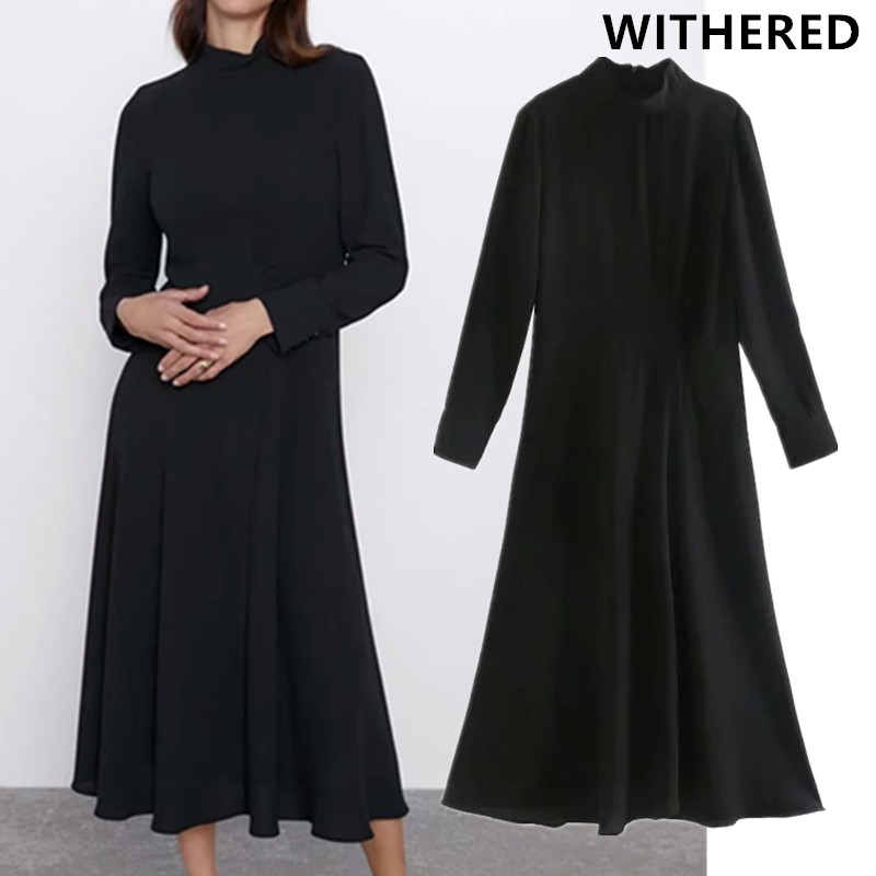 Withered England Style Elegant Simple Pleasted Black Midi Dress Women Vestidos De Fiesta De Noche Vestidos Maxi Dress Blazer Top
