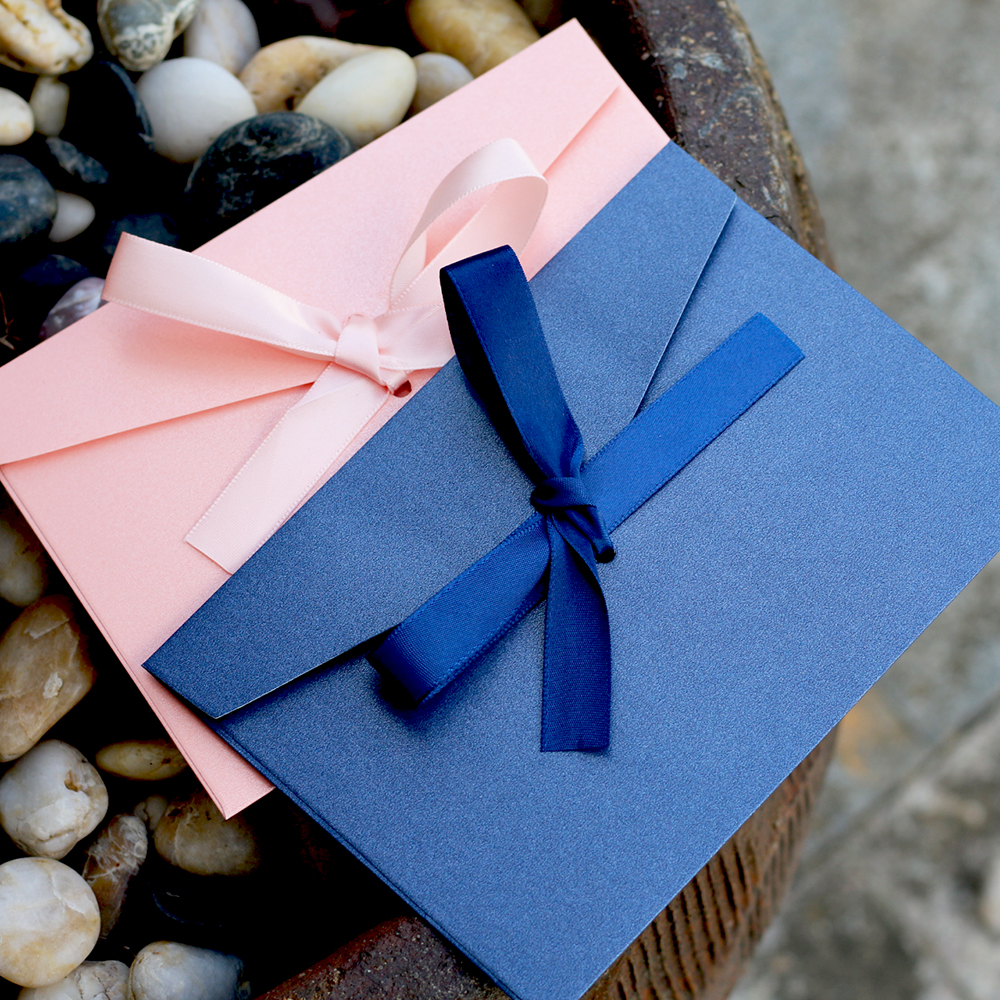50pcs/set High Quality Ribbon Paper B6 & DL Size Envelopes Pearl Paper DIY Wedding Business Invitation Envelopes /Gift Envelope