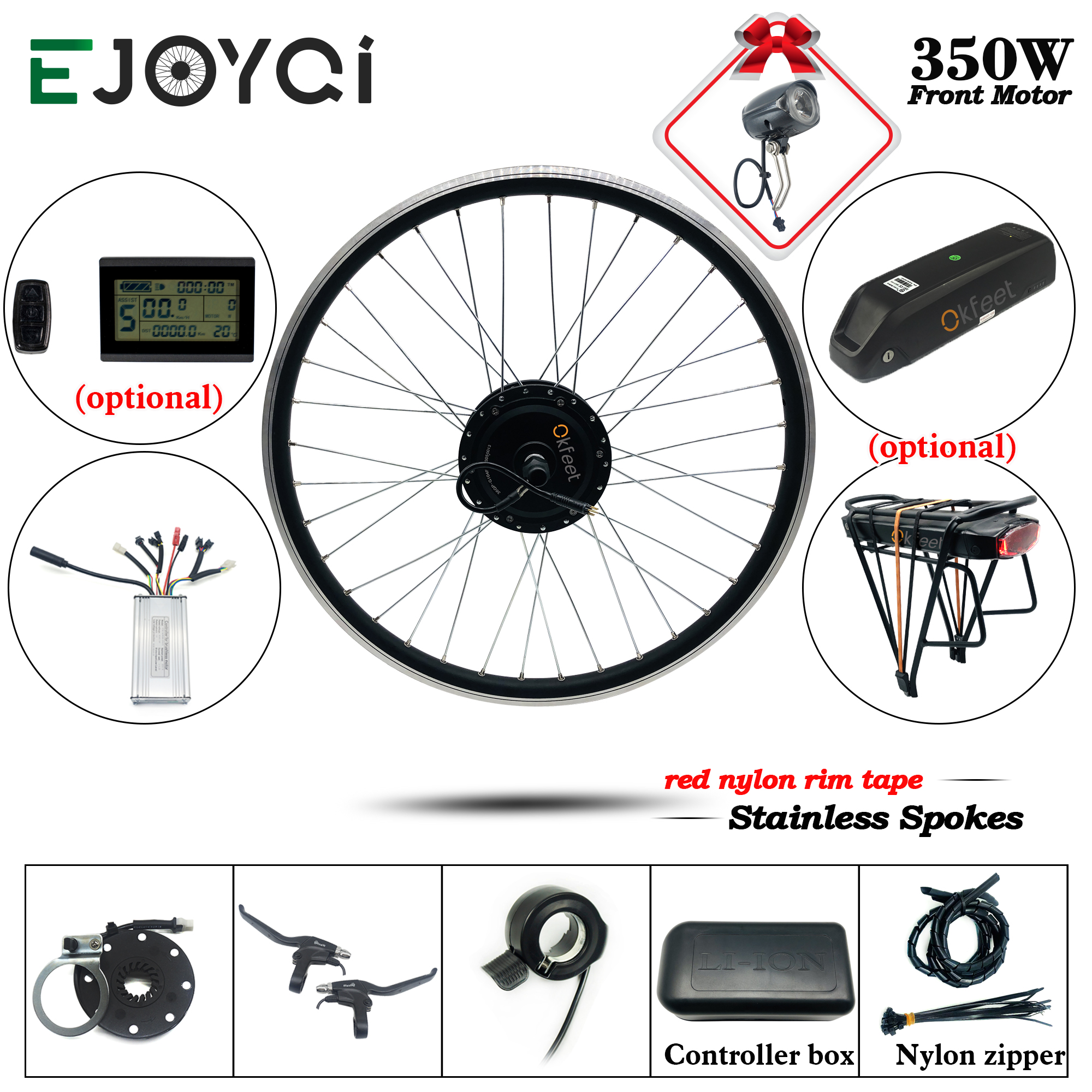 E bike Conversion Kit 36V 350W Electric Bicycle Wheel With Battery And Charger