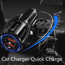 Szybkie ładowanie 3 0 2 0 USB ładowarka samochodowa Usb dla IPhone Xiaomi Huawei QC4 0 QC3 0 QC szybka ładowarka samochodowa telefon komórkowy Dropshipping cheap Vwinget CN (pochodzenie) Battery Charging PC+ABS Fireproof DC10-30V 5V 3 1A