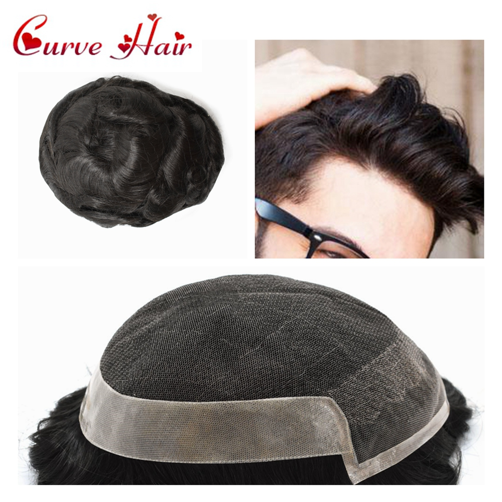 Lace Front Mens Toupee Black Human Hair Hairpiece Natural Hairline Hair Replacement Systems Medium Density Wig For Man 1B# OCT