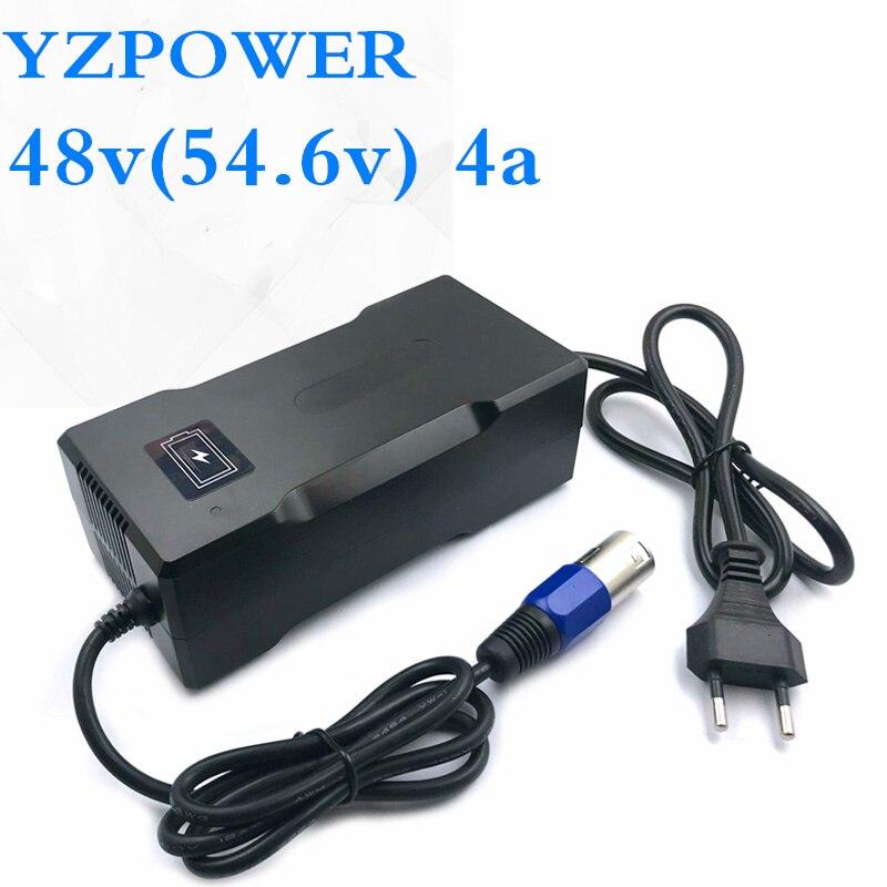 Yzpower ce rohs 54.6 v 4a carregador de bateria de lítio inteligente para 48 v lipo li-ion bateria elétrica bicicleta ferramenta elétrica com ventilador de refrigeração