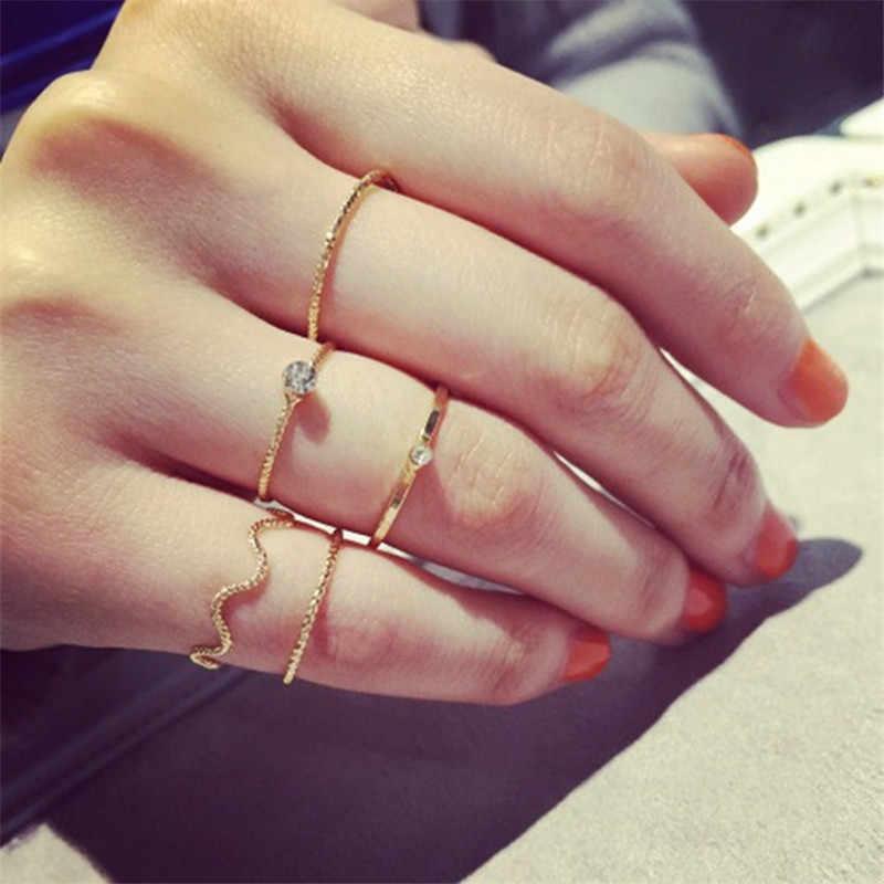 Novo noivado rosa ouro anel feminino conjunto para anéis de dedo lote senhoras simples conjunto anel de junta para presentes de aniversário feminino jóias