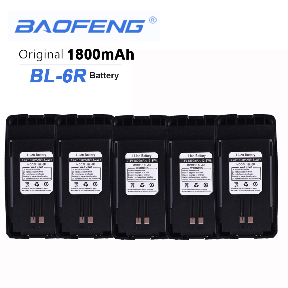5PCS New Original Baofeng UV6R Walkie Talkie Battery 7.4V 1800mAH 13.3Wh Baofeng BL-6R UV-6R Headset Anytone Clip Baofeng Hands