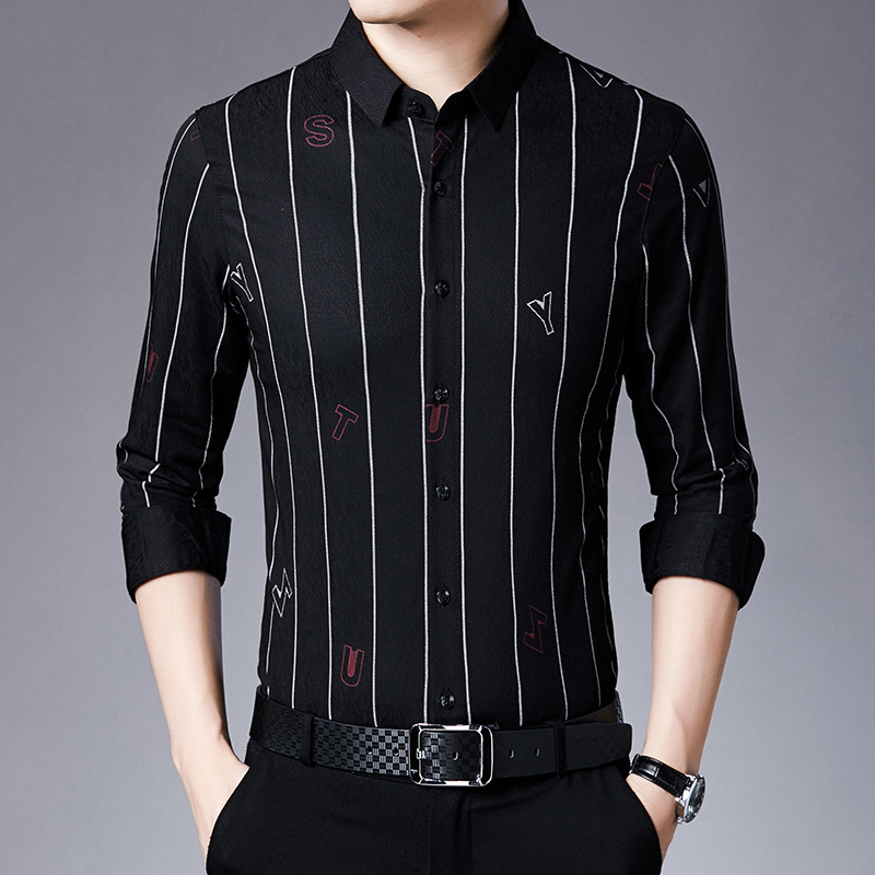 Fall 2020 Men's New Shirt Letters Vertical Stripes Long Sleeve Men's Clothing 1