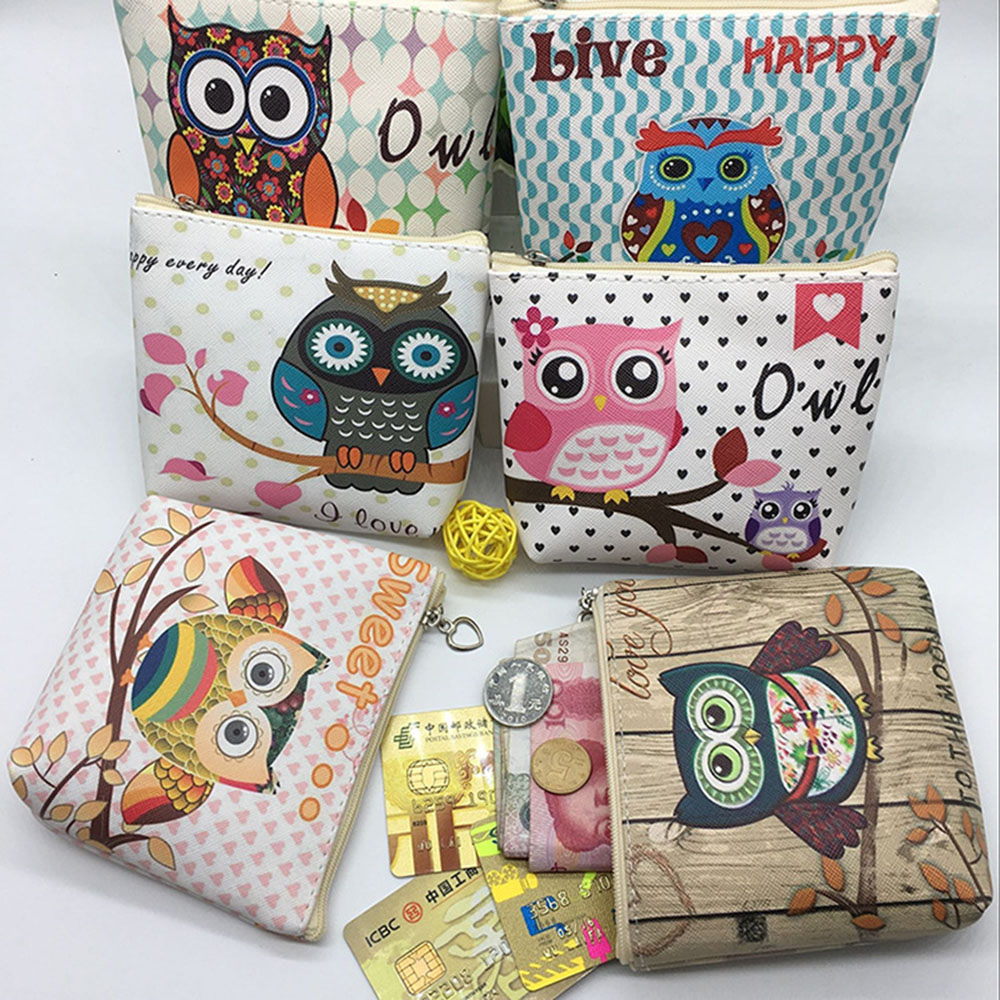 Cute Short Wallet Women Vintage Canvas Shell Coin Purse Lady Card Holder Clutch Kids Cartoon Owl Small Change Purses