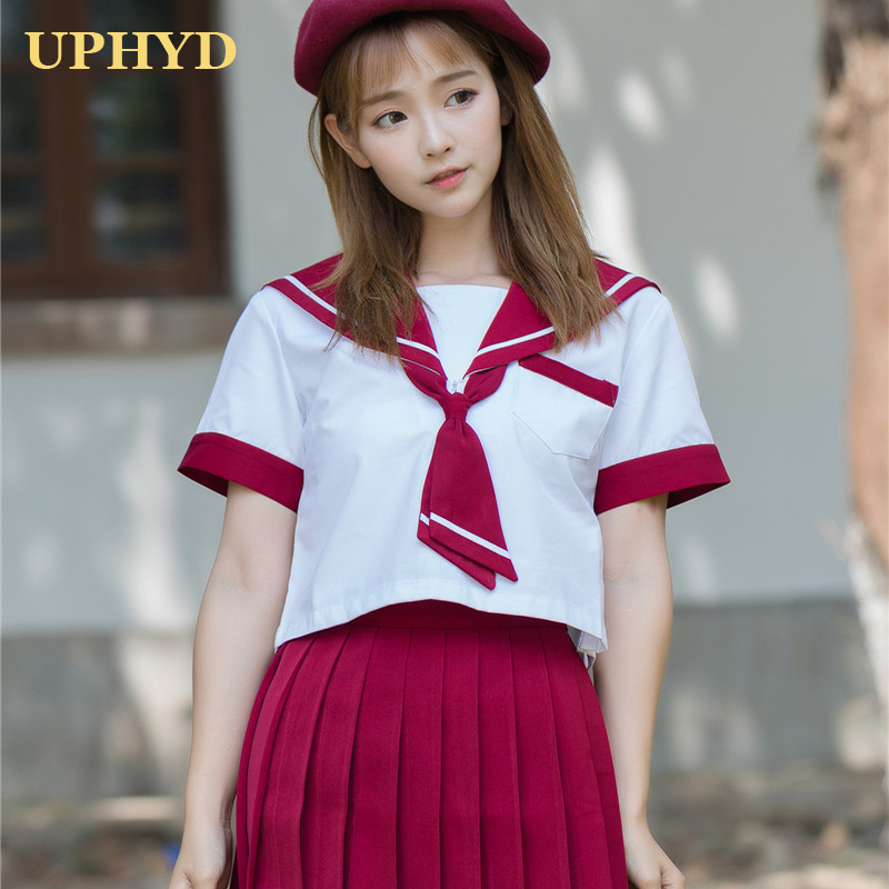 New Summer Sailor Student Uniform Hot Girls Performance JK Uniforms Japanese Schoolgirl Uniform Red Blue Color Optional