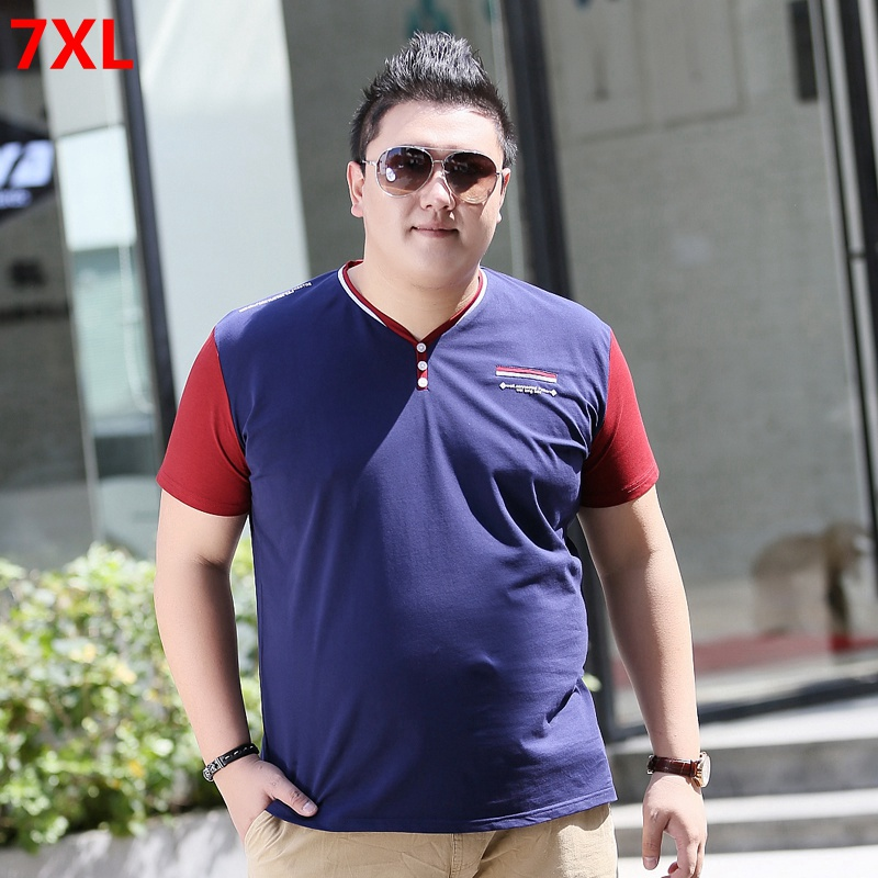 Summer Large Size Trend Men's Plus Size XL Loose V-neck Half-sleeved T-shirt 7XL 6XL 5XL 4XL Oversized T Shirt