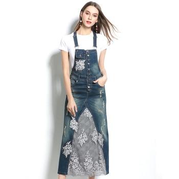 Summer Skirt Suit Two Piece Set Womens Set Denim Strap Dress Pullover T-shirt Top + Jeans Strap Dress 2 Piece Set Girl Sets фото