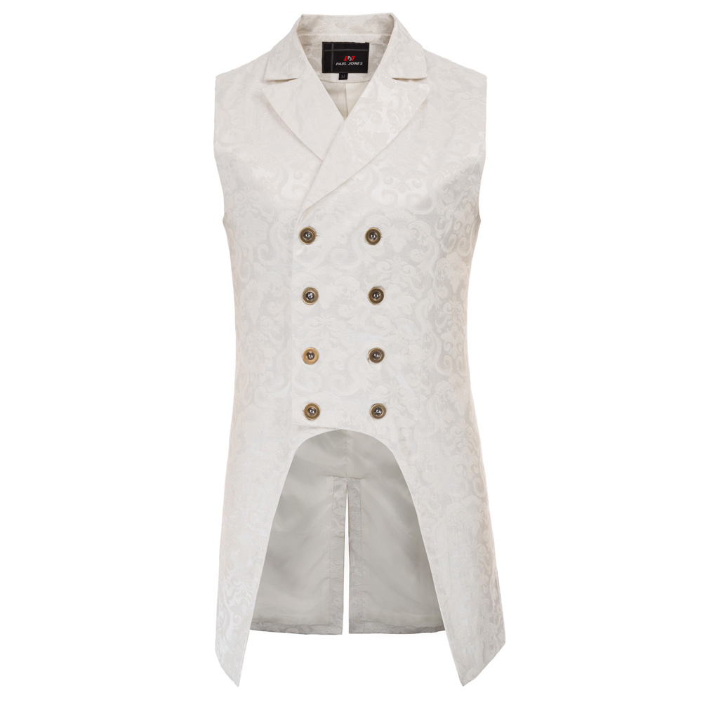 He71f03f4a61446689fe5599bdb7cd3f7o vintage style Men coats medieval Steampunk Gothic Sleeveless Lapel Collar Double-Breasted formal prom party Jacquard Coat