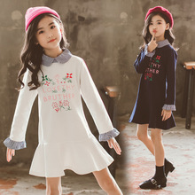 Cute Flower Dress for Kids Girls Cotton Spring Peter Pan Collar Princess Dresses 10 to 12 Years White and Navy Blue Clothes cute short pink and white flower girl dresses peter pan collar knee length baby girls summer dress 1st birthday outfit with bow