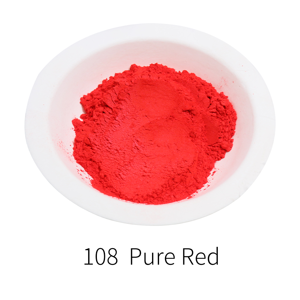 Pure Red Pearl Powder Mineral DIY Dye Colorant 10g 50g Type 108 Pearlized Dust Mica Powder For Soap Eye Shadow Cars Art Crafts
