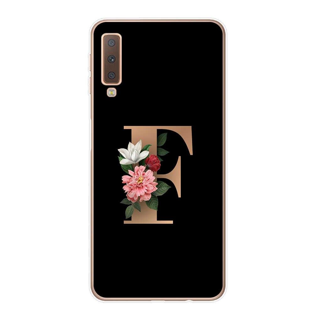 Clássico e Elegante floral 26 fonte letra do alfabeto Caixa Do Telefone Para Samsung A7 A9 A6 A8 Plus 2018 Nota 9 10 pro Capa Mole TPU Capinha