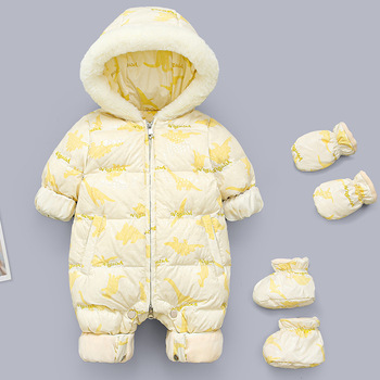 OLEKID 2020 Russian Winter Baby Rompers Hooded Plus Velvet Warm Newborn Snowsuit Baby Girls Overalls Toddler Boys Jumpsuit iyeal newborn baby snowsuit children infant winter coat warm liner hooded zipper jumpsuit boys girls duck down outwear overalls