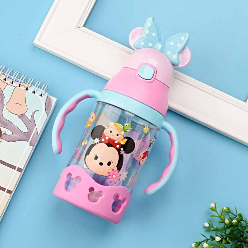 Disney Baby Glass Children Cup With Straw Sippy Cup Infant Kettle Leak-Proof CHILDREN'S Drink Glass Sub-with Handle