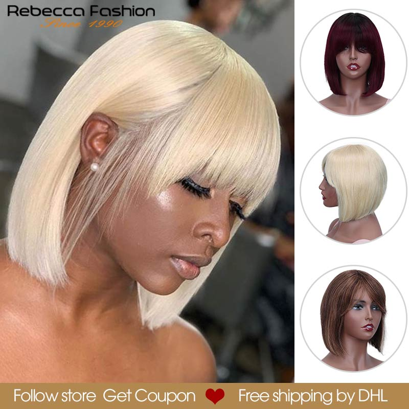 Rebecca Mix Color Short Bob Cut Straight Hair Wig Peruvian Remy Human Hair Wigs For Women Ombre Red Blond Wigs DHL Free Shipping