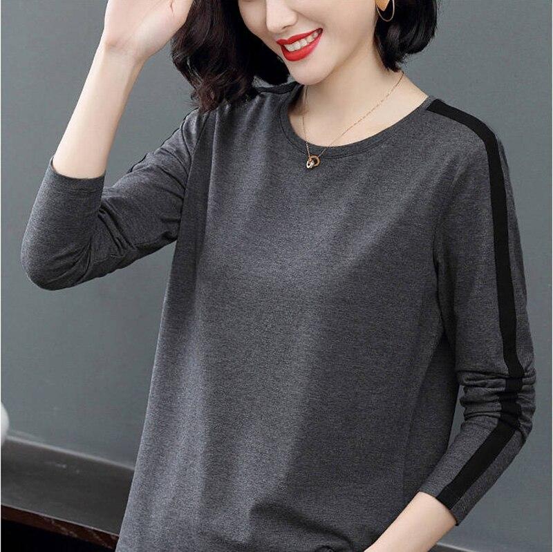Women T-shirt Girl Casual Patchwork Color Block O-neck Long Sleeve T-shirt Blusas Women Tops Fashion Clothes DD8238