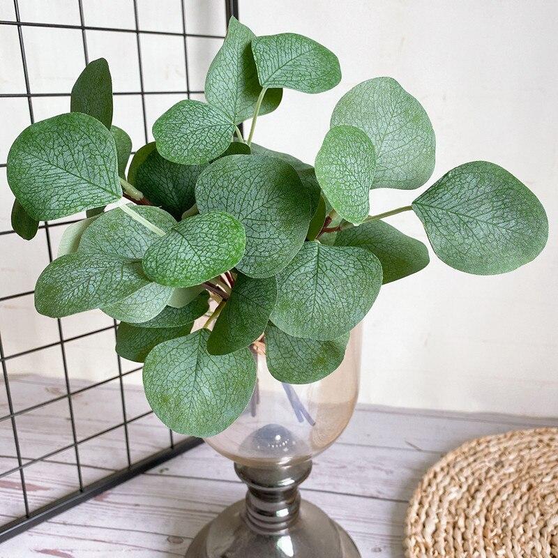 4Pcs/bundle Real Looking Eucalyptus Leaves Silk Fake Plant For Artificial Flower Arrangement Supplies Plante Artificielle Greens