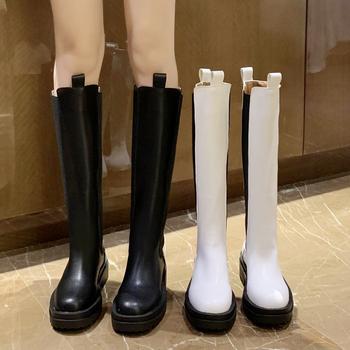 Rimocy moda Pu skórzane platformy buty do kolan kobiety czarny Chunky długie Chelsea Boots kobieta Slip On jesień Bota Feminina 2020 tanie i dobre opinie CN (pochodzenie) Podkolanówki Platforma Stałe K2864 Plac heel Chelsea Buty Okrągły nosek Wiosna jesień RUBBER Niska (1 cm-3 cm)