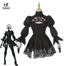 ROLECOS Game NieR:Automata Cosplay YoRHa 2B Costume Cosplay Sexy Black Outfit Dress Costume Cosplay Women Suit Dress(China)