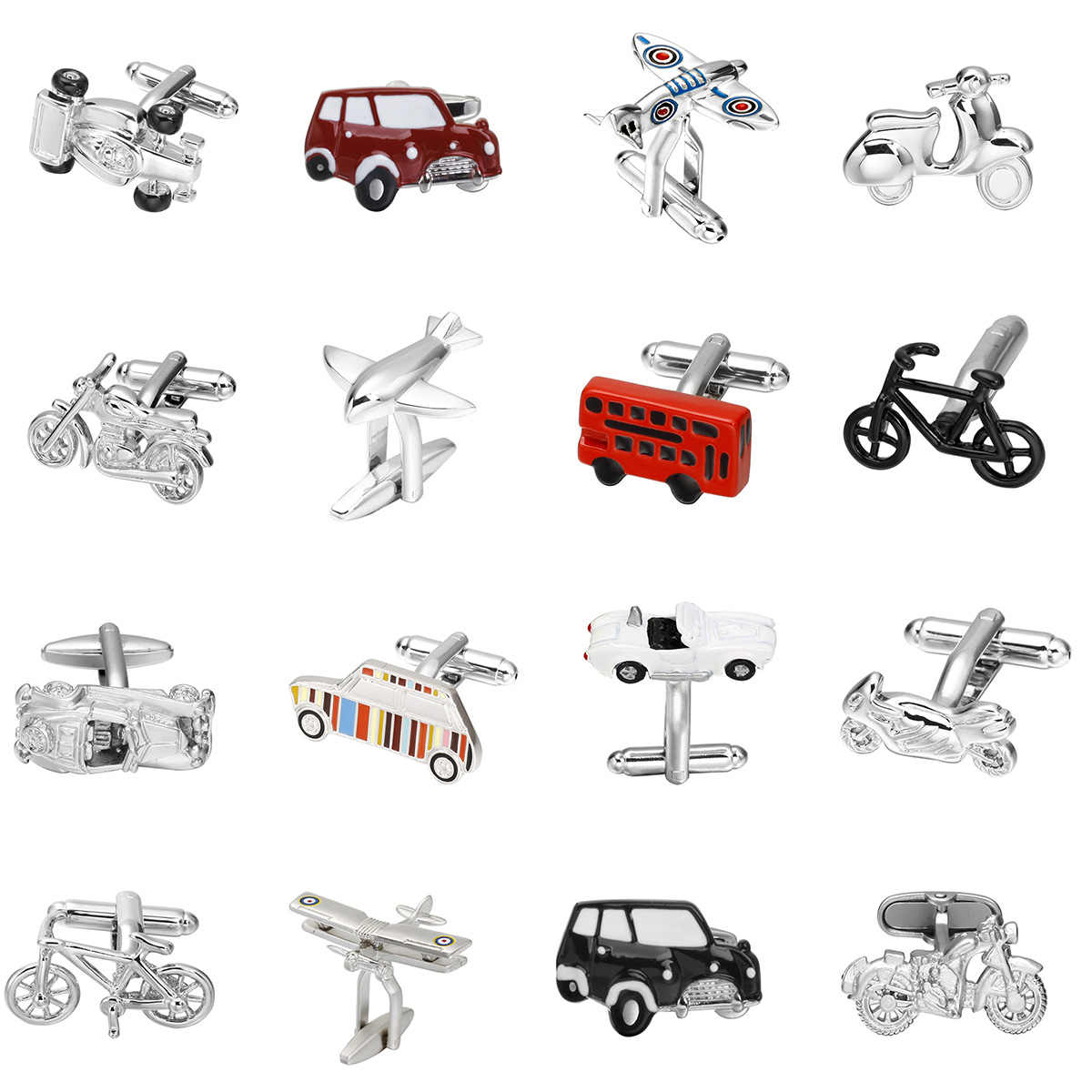 Factory Direct sales Motorcycles Sailboat Cufflinks Plane Animal Vintage car Bus Bike modeling men's French shirts  cuff links