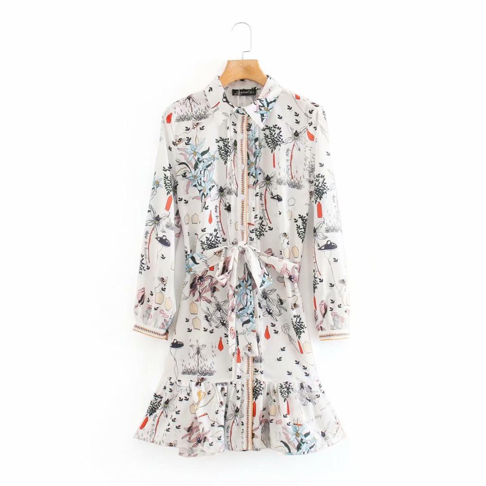 2020 women fashion flower print bow sashes shirt dress chic female long sleeve hem ruffles vestidos casual button dresses DS3823
