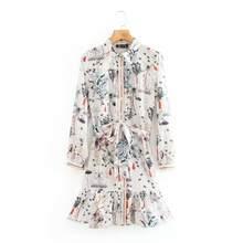 Robe chemise chic à manches longues pour femmes, imprimé floral, ceinture à nœud, ourlet à volants, boutons, DS3823, 2020