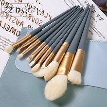 ZZDOG 10Pcs Morandi Blue Cosmetics Tool Set Natural Hair Powder Eye Shadow Foundation Highlight Blending Makeup Brushes Kit New