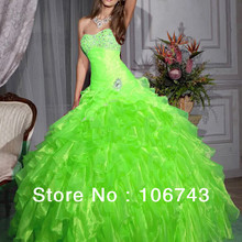 free shipping sweetheart Greens Organza Layers Quinceanera Pageant Formal Prom party Ball Gown 2018